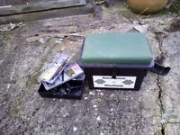 fishing seat box with small tackle box and assorted tackle