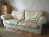 Real leather sofa three seater with free delivery