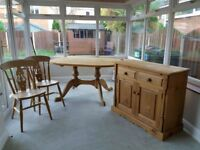 Pine dining table, 6 chairs and sideboard