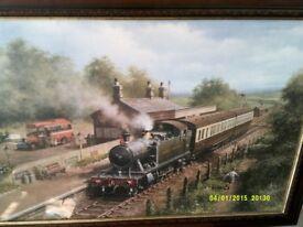 large railway print framed