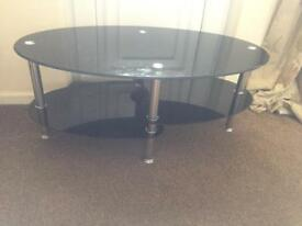 Black glass and silver coffee table /tv stand