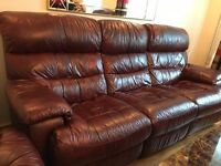 Idaho, Mahogony colour, Leather, 3 seater + 2 seater and arm chair all with recliner