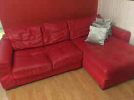 Red leather 3 & 2 seater sofa/suite/couch