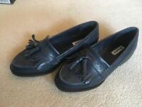 Navy Tassel Leather Loafers