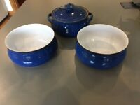 Denby Vintage 1994 Imperial Blue Casserole and Open Serving Bowls