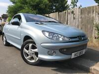 Peugeot 206convertible blue , long mot , full service history, hpi clear , private plate