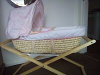 Pink Moses Basket plus wooden Stand