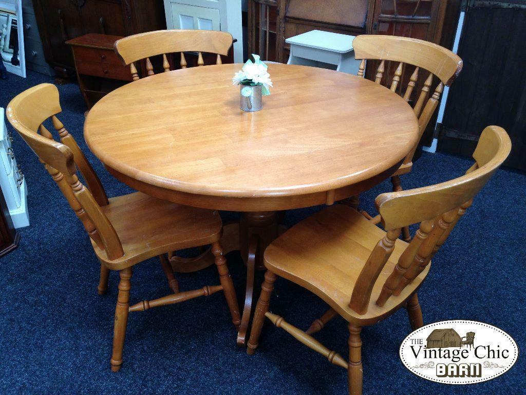 Solid pine wood round pedestal dining table 4 chairs for Wood round dining table for 4