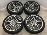 "Genuine VW Volkswagen 18"" Velos Titanium Alloy Wheels + Premium Dunlop Sport Maxx RT2 Tyres *mint*"