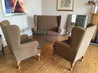 Lovely 3 piece wing back sofa and chairs for sale