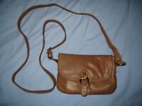 Kangol SMALL BROWN OVER SHOULDER LEATHER BAG WITH LONG STRAP