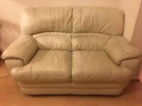 Cream colour leather Sofa 2 seater + 1 Seater