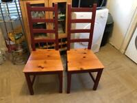 Two Solid Wooden Chairs Good Condition Delivery Possible
