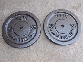 2 x 25kg York Metal Weight plates - Plymouth