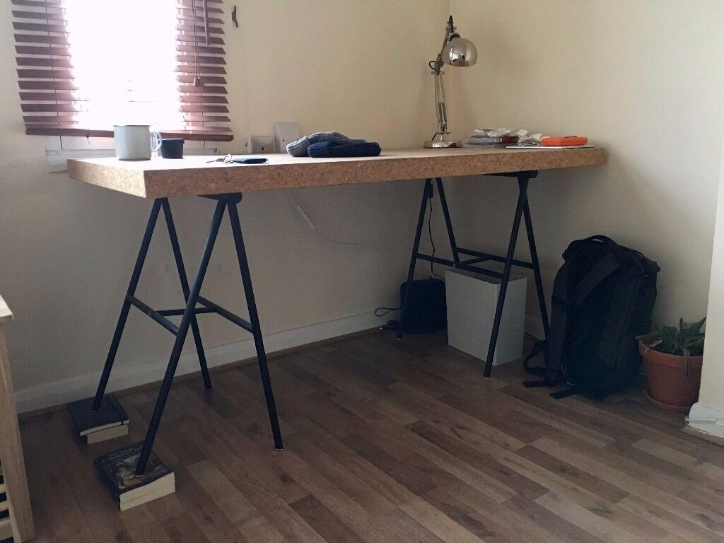 Ikea sinnerlig desk with trestles in notting hill london gumtree - Ikea office desk uk ...