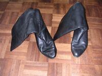 Black calf length leather boots - size 5