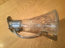 Antique English Silver Plated & Cut Crystal Glass Wine Decanter