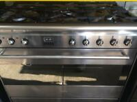 Stainless steel smeg five burners 90cm dual fuel cooker grill & fan oven good condition with guara