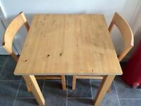 Beech wooden table & 2 chairs