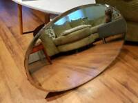 Large Vintage Retro Wall Mirror Over Mantle Mirror Wooden Back Original Hanging chain
