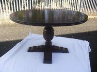 Best Quality Solid Oak Carved Pedestal Centre Coffee Lamp Table Webber Of Croydon