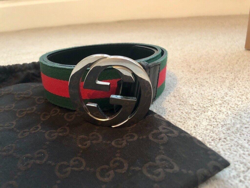 3280bc2ce11 Mens web stripe leather Gucci belt RRP £245