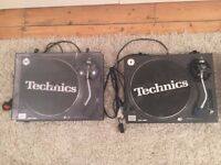 Pair (two) Technics SL 1210 MK2 Turntables with needles
