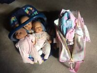 Dolls, baby Annabel, carry seat and big bag of clothing for dolls