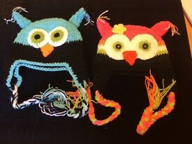 Owl character woolly hats