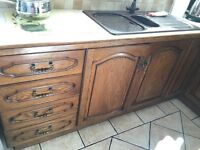 Solid Oak (Country Kitchen) Cupboards, good as new/perfect for upcycling project