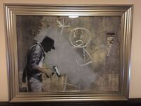 Banksy 'Man' Liquid Art With Swarovski Crystals. (BRAND NEW)