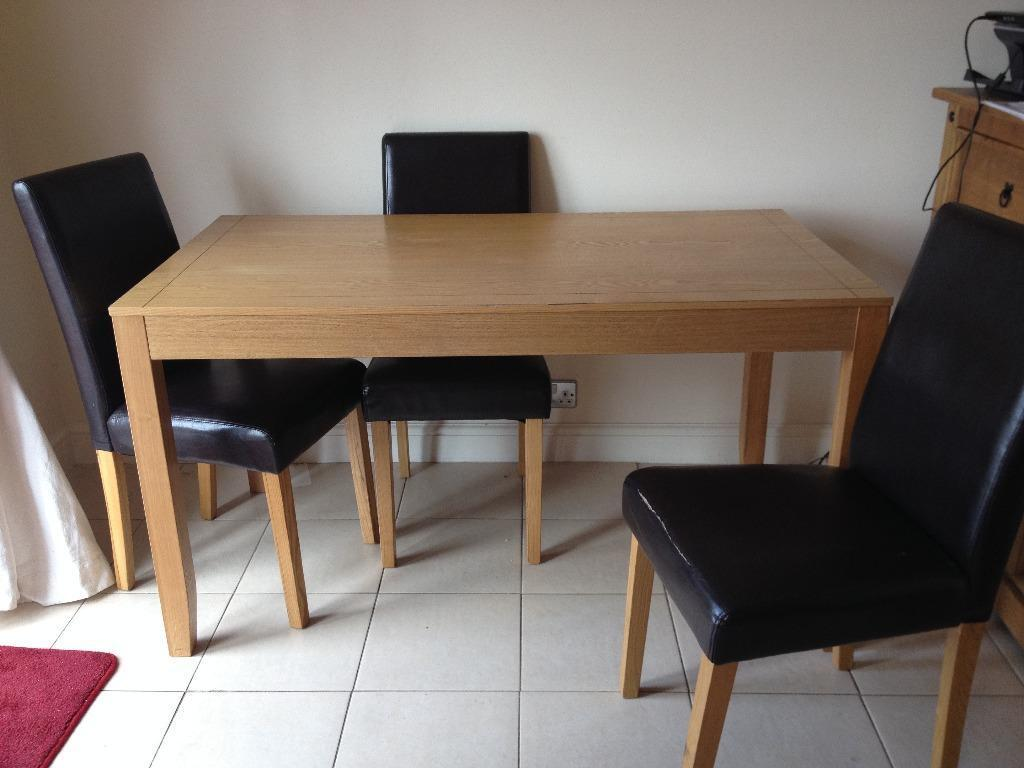 Oak dining table 3 leather chairs in plymouth devon for Dining table leather chairs