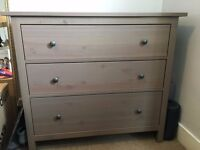 2 x Ikea Hemnes Chest of 3 Drawers in grey/brown. Very good condition with very minor damage.