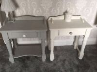 Shabby chic solid pine Bedside table selling seperatly his n hers annie sloan off white & paris grey