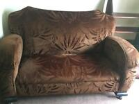Vintage 1930s settee and one matching armchair