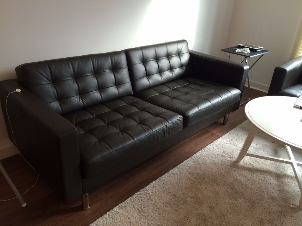 Landskrona 3 2 Person Leather Sofa Dark Brown Ikea