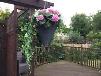Pair Of Plastic Artificial Hanging Baskets