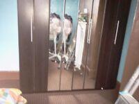 4 door biofold mirrored bedroom wardrobe walnut