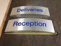 Business Signs for deliveries and Reception