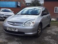 Honda Civic 2001 1.4 starts and drives long mot not spares or repairs bargain cheap car