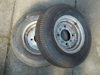 Trailer tyres, x2, unused 8 ply high speed