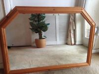 NATURAL PINE OVER MANTLE WALL MIRROR