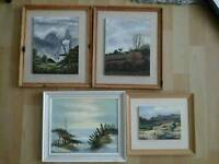4 x genuine oil paintings signed by artist,windmill,landscapes,framed