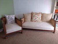 Antique 2 Seater French Bergere Fabric Sofa & 1 Armchair Set