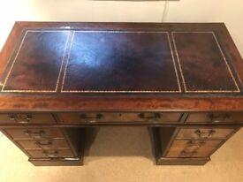Vintage Wooden Leather-Topped Pedestal Desk