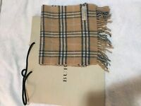 BURBERRY UNISEX SCARF MAIN COLUR BEIGE WITH BURBERRY CHECK NEW WITH TAG/GIFT BAG
