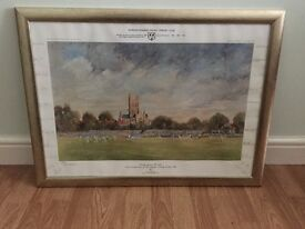 Rare signed Print of County Ground Worcester Cricket Print .