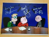 "Gervais, Pilkington & Merchant Hand Signed Photo. 'The Ricky Gervais Show'. 12"" x 10"" with COA"