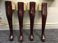 Set of 4 Queen Anne Table Legs - Solid Wood Table Legs - Coffee Table Legs Queen Anne Style -Must Go
