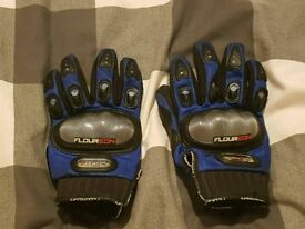 Blue Motorcycle Gloves